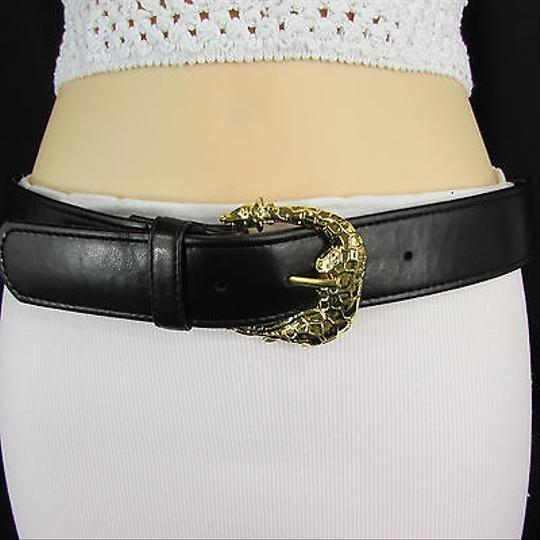 Other Women Black Faux Leather Classic Fashion Belt Gold Giraffe Buckle Sm Ml