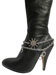 Other Women Silver Boot Anklet Chain 1 Strap Rhinestone Star Heart Bracelet Shoe Charm