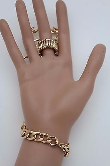 Other Women Gold Scorpion Hand Chain Slave Ring Connected Rhinestones