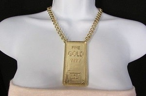 Other Women Gold Metal Plate Chains Necklace 999.9 Pretty Girls Bank Pendant