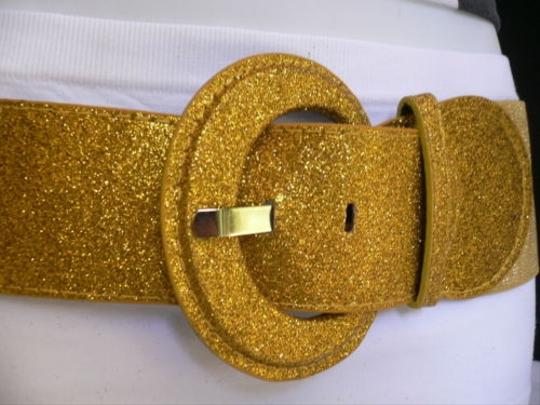 Other Women Hip Elastic High Waist Sparkling Glitter Gold Fashion Belt Stretch