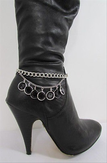 Other Women Silver Metal Western Boot Chain Strap Beads Back Side Front Shoe Charm