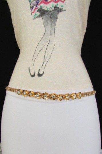Other Women Metal Thin Belt Hip High Waist Mini Flowers Silver Gold