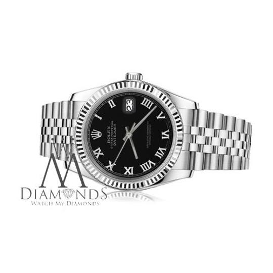 Rolex Women's Rolex 26mm Datejust Black Color Roman Numeral Dial Watch