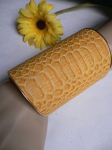 Other N Women Yellow Snake Skin Animal Print Cuff African Fashion Bracelet Adjustable