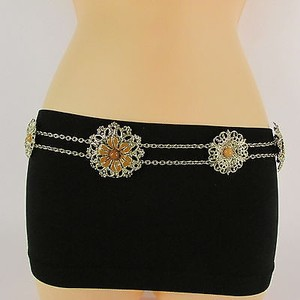 Women Hip Waist Gold Metal Chain Link Fashion Belt Brown Flower Bead