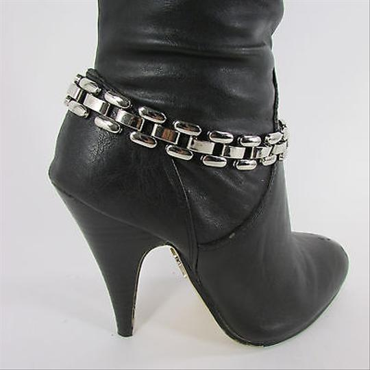 Other Women Fashion Boot Chain Bracelet Silver Metal Thick Link Strap Shoe Charm Bling