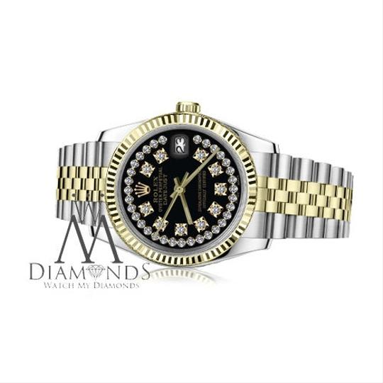 Rolex Men's Rolex 36mm Datejust2Tone Black String Diamond Accent Dial SP