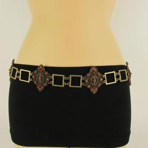 Other Women Hip Waist Antique Gold Metal Chains Fashion Belt Brown Beads