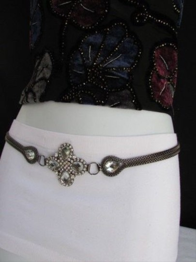 Other Women Hip Waist Pewter Mesh Metal Chain Big Big Beads Narrow Belt 27-46