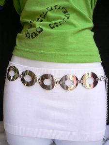 Women Hip Waist Fashion Belt Silver Metal Hot Circles Geometric