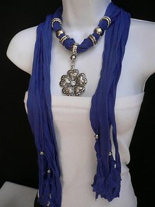 Women Blue Fashion Soft Scarf Necklace Heart Flower Silver Bead Pendant