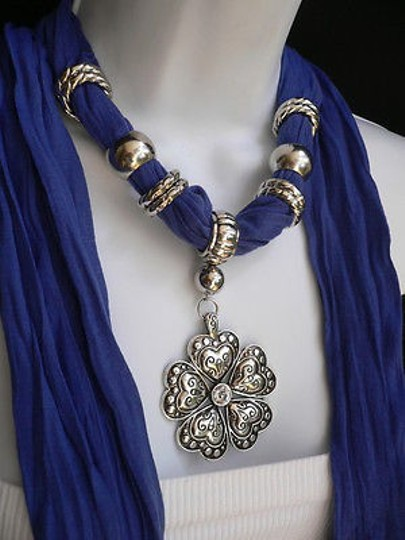 Other Women Blue Fashion Soft Scarf Necklace Heart Flower Silver Bead Pendant