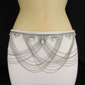 Other Women Metal Chains Fashion Belt Gold Silver Imitation Pearls Waist 27-34