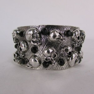 Women Silver Metal Cuff Bracelet Fashion Jewelry Skulls Skeletons Rhinestone