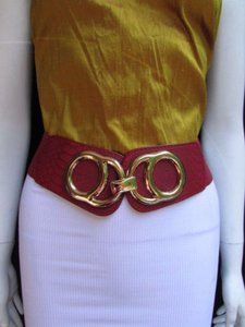 Other Women Hip Waist Elastic Red Fashion Belt Big Gold Metal Buckle 26-35 Sm