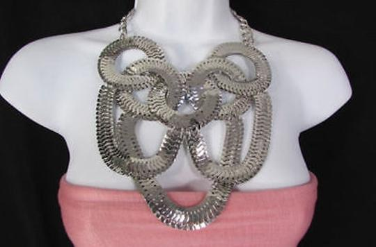 Other Women Silver Link Chains Jewelry Long Fringe Necklace Earring