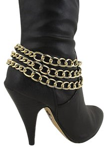 Other Women Fashion Boot Chain Bracelet 3 Gold Metal Chunky Strands Shoe Strap Charm