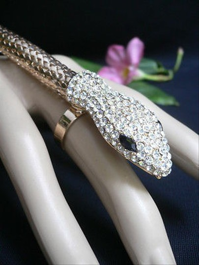 Other Women Long Gold Wide Bracelet Snake Slave Ring White Rhinestones Arm Wrap