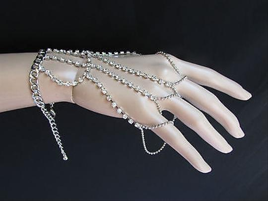 Other Women Silver Metal Hand Chain Bracelet Five Figers Slave Ring Rhinestones