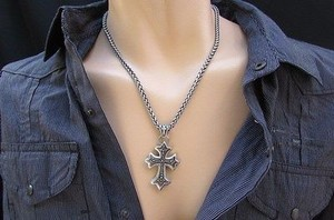 Other Men Fashion Silver Pewter Chain Necklace Cross Pendant