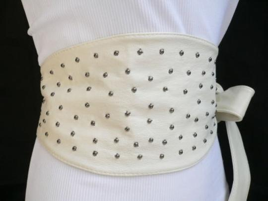 Other Women Waist Hip Wrap Tie White Belt Big Bow Pewter Metal Dots 27-35 S-m-l