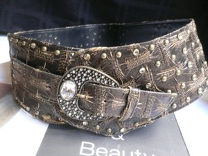 Women Hip 4 Wide Brown Western Fashion Belt Rhinestones 36-40