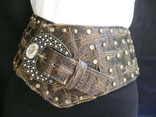 Other Women Hip 4 Wide Brown Western Fashion Belt Rhinestones 36-40