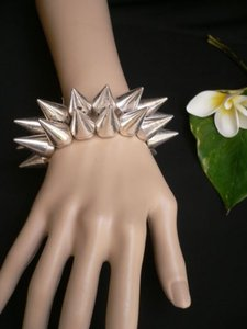 Women Two Rows Silver Spikes Bangle Fashion Bracelet Rocker Punk Stylish