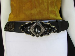 Women Hip Waist Moroccan Antique Gold Buckle Black Fashion Belt 41-45 Lxl
