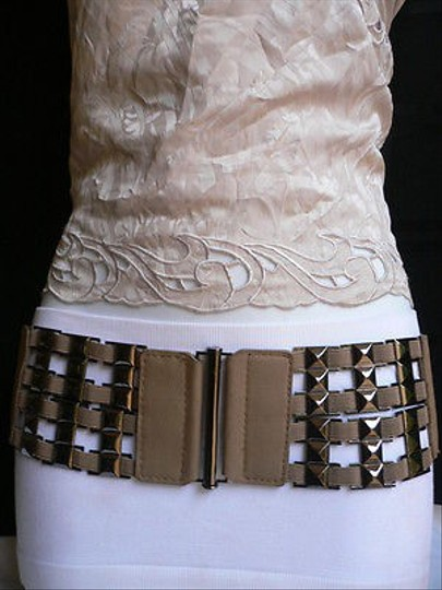 Other Women Saddle Brown Elastic Belt Pewter Studs Metal Thin Buckle