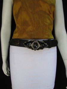 Other Women Hip Waist Moroccan Antique Gold Buckle Black Belt