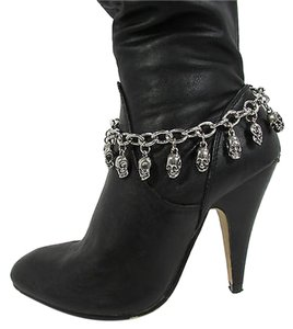 Other Women Fashion Boot Chain Bracelet Strap Silver Mini Skull Charm