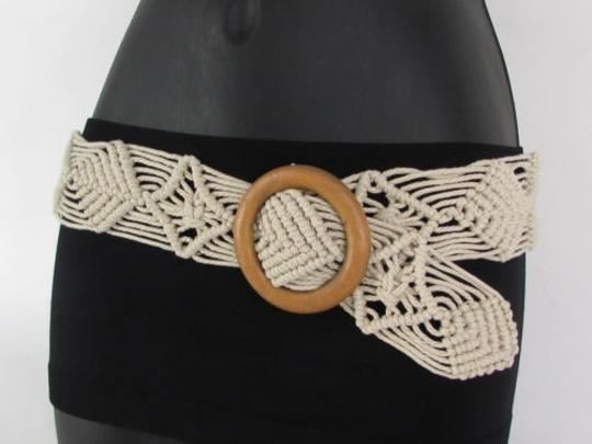 Other Women Beige White Brown Knited Fabric Fashion Belt Wood Buckle