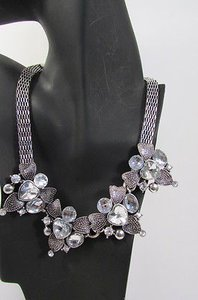 Women Fashion Silver Metal Multi Flowers Fashion Necklace Big Rhinestones