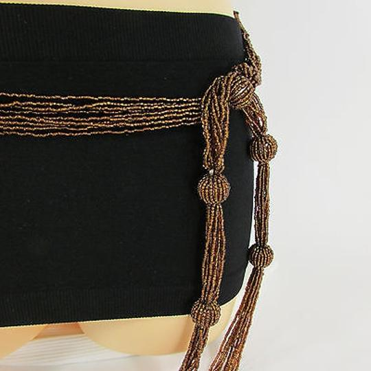 Other Women Tie Belt Gold Brown Long Beads Hip Waist Scarf Fashion