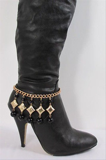 Other Women Gold Black Big Balls Beads Metal Western Boot Chain Strap Shoe Charm