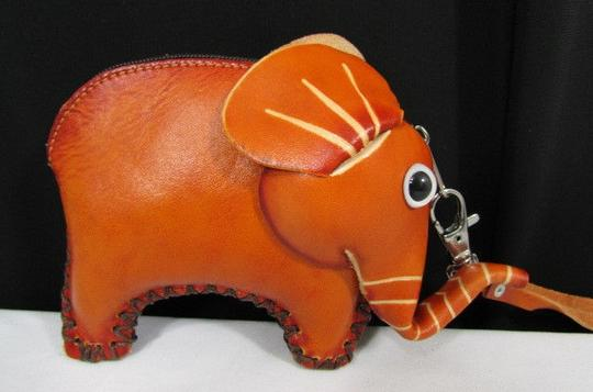 Other Women Elephant Purse Coin Wallet Genuine Leather Bag Key Chain Brown Orange