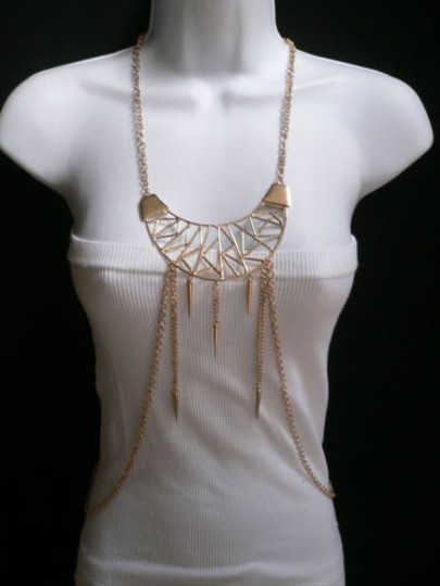 Other Women Gold Pendant Metal Body Chain Stylish Jewelry Long Necklace