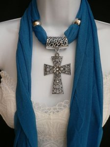 Women Royal Blue Fashion Scarf Necklace Silver Flower Cross Pendant Stones