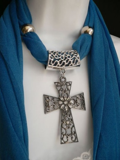 Other Women Royal Blue Scarf Necklace Silver Flower Cross Pendant Stones