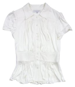 Carolina Herrera White Gathered Button Up Button Down Shirt