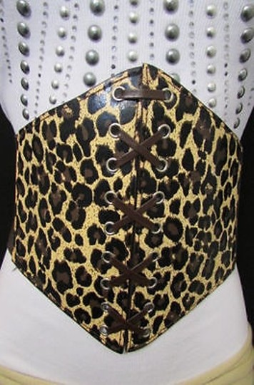 Other Women Brown Cheetah Leopard Wide Corset High Waist Hip Wide Belt 27-35