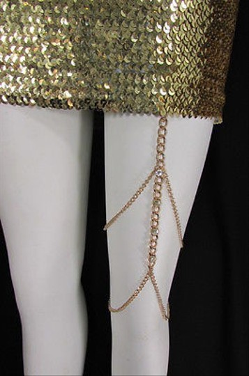 Other Women Gold Thigh Leg Chain Garter Silver Rhinestones Fashion Body Jewelry
