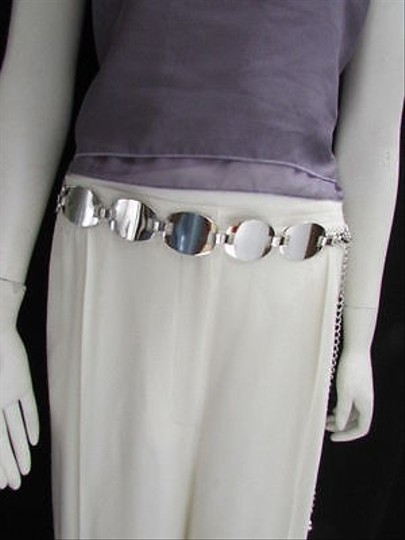 Other Women Hip Waist Silver Metal Wide Fashion Belt Circles 29-43
