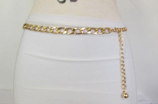 Other Women Chunky Metal Thick Chains Fashion Belt Low Hip Waist Silver Gold