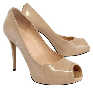 Stuart Weitzman Nude Patent Leather Peep Toe Pumps