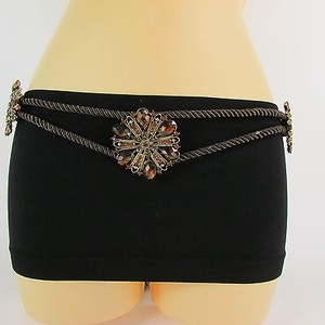 Women Hip Waist Brown Fabric Tie Fashion Belt Gold Bead Big Flower Charm