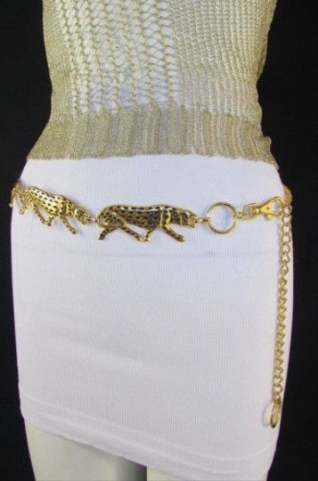 Other Women Gold Metal Chain Fashion Belt Hip Waist Leopard Tiger 27-38