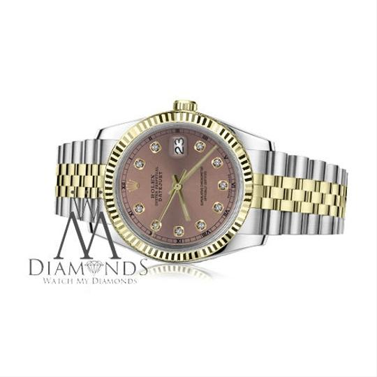 Rolex Women's 26mm Datejust2Tone Salmon Color Dial with Diamond Accent RT